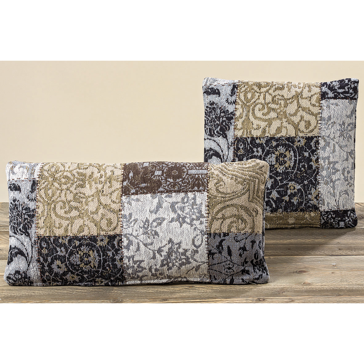 patchwork kissen gobelin vintage grau braun 70x35cm. Black Bedroom Furniture Sets. Home Design Ideas