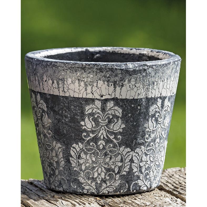 Pflanztopf Blumentopf Terrakotta schwarz - weiß 17cm - 037940 -