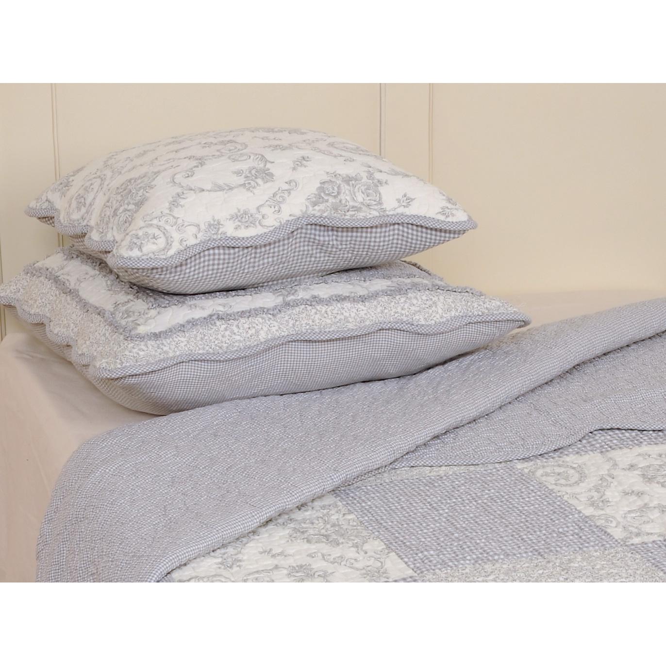 clayre eef tagesdecke plaid grau patchwork 180x260cm 016658. Black Bedroom Furniture Sets. Home Design Ideas
