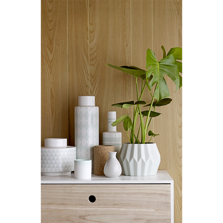 bloomingville vase keramik wei mint gestreift 28cm ebay. Black Bedroom Furniture Sets. Home Design Ideas