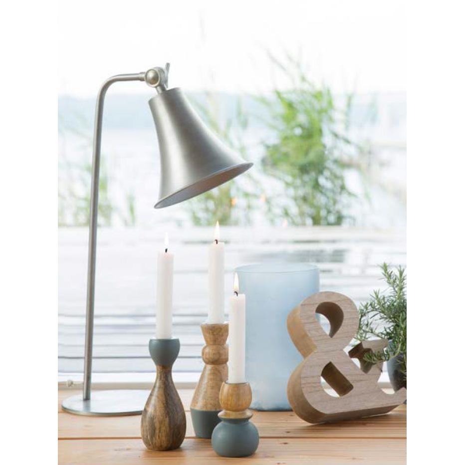 kerzenhalter aus holz natur blau 15cm 032638. Black Bedroom Furniture Sets. Home Design Ideas