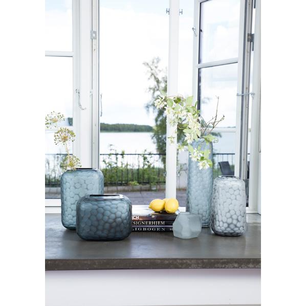blumenvase glas geschliffen grau 035445 sunflower design. Black Bedroom Furniture Sets. Home Design Ideas