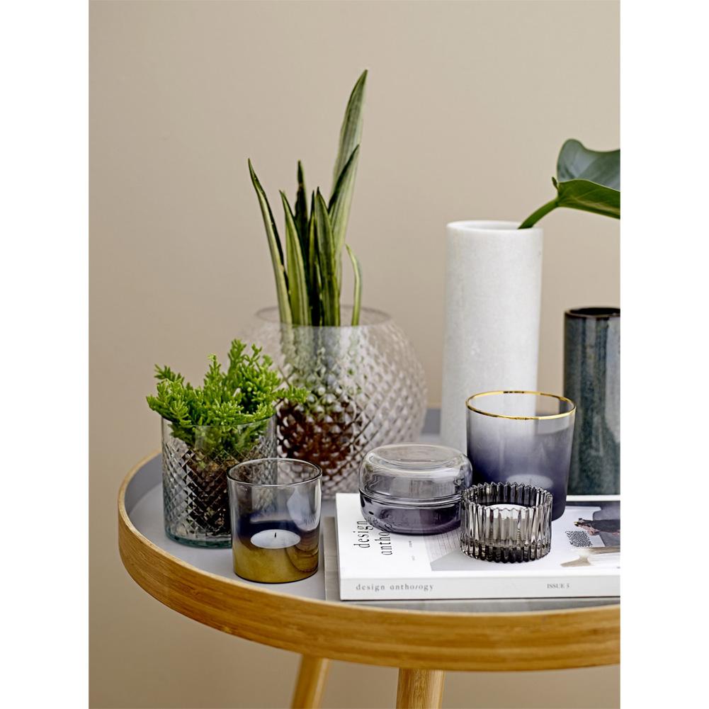bloomingville kugelvase glas grau 20cm 035798 sunflower design. Black Bedroom Furniture Sets. Home Design Ideas